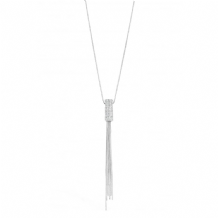 Long Crystal Set Imitation Rhodium Plated Tassel Necklace
